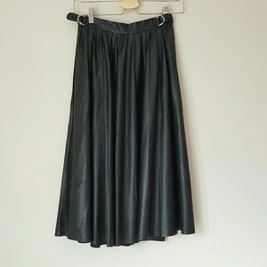 Zara vegan black leather pleated midi skirt